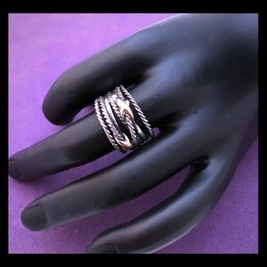 David Yurman Size 8 Double X Crossover Ring, 18K